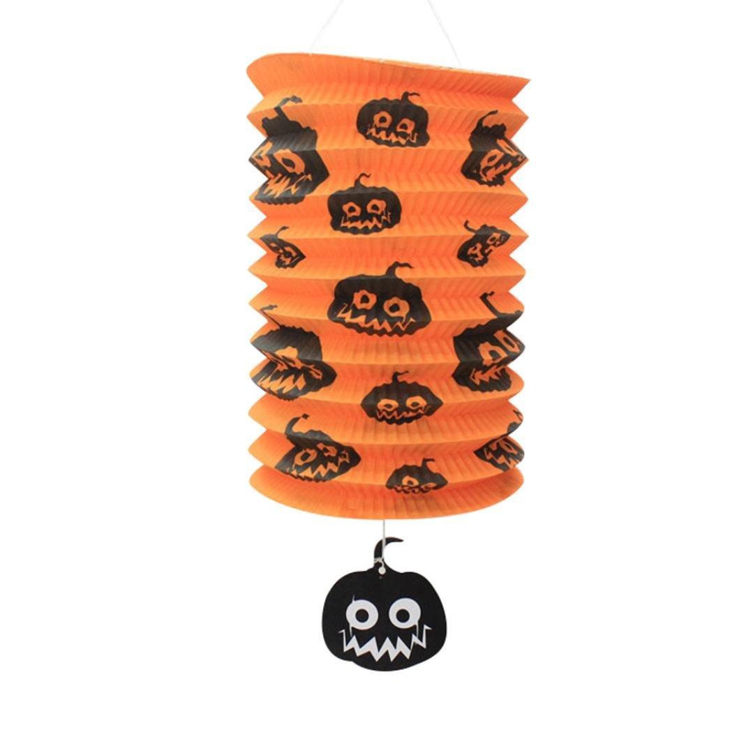 Iusun Happy Halloween Paper Pumpkin Bat Skeleton Hanging Lantern Light Lamp Halloween Party Decor Props (H)