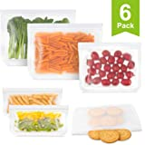 Reusable Storage Bags, 6 Pack Leakproof Reusable Sandwich Bags - Extra Thick PEVA Reusable Lunch Snack Bags for Food Marinate Meat Fruit Cereal, Freezer Safe