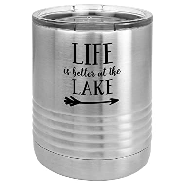 LIFE IS BETTER AT THE LAKE-2 Stainless 10 oz Drink Tumbler with Lid | Yeti Lowball Style Stainless Steel Travel Mug | Engraved Coffee Cup With Funny Quotes | OnlyGifts.com