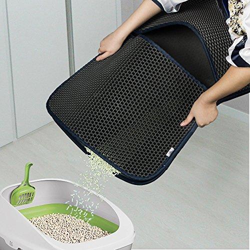 Estera de arena para gatos, Almohadilla de panal plegable impermeable - Proteja el piso y la alfombra, Estera de orificio de fácil limpieza: Amazon.es: ...