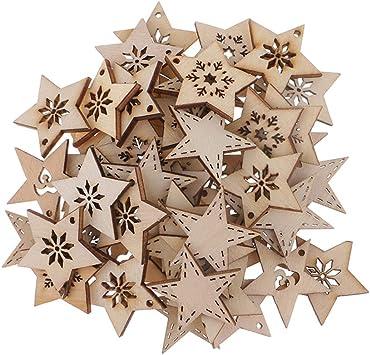Flameer 50 Stück Holz Sternformen Schneeflocke Holzscheiben Tischdekoration Holz Deko Basteln Weihnachtsdeko Natürlich 30 Mm
