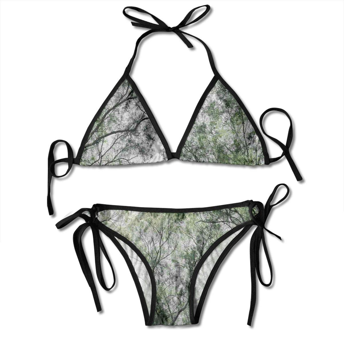 9744caf0e91be6 Amazon.com: Women's Swimsuit Two Pieces Bikini Set, Tree Branch in Spring  Season Fairy Jungle Growth Nature Look Up Wood Scene,Swimwear Bathing Suits:  ...
