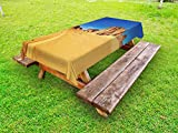 Lunarable Desert Outdoor Tablecloth, Desert Landscape with Rocks and Sky, Tadrart, Algeria Africa Sahara Dry Weather, Decorative Washable Picnic Table Cloth, 58 X 120 inches, Blue Sand Brown