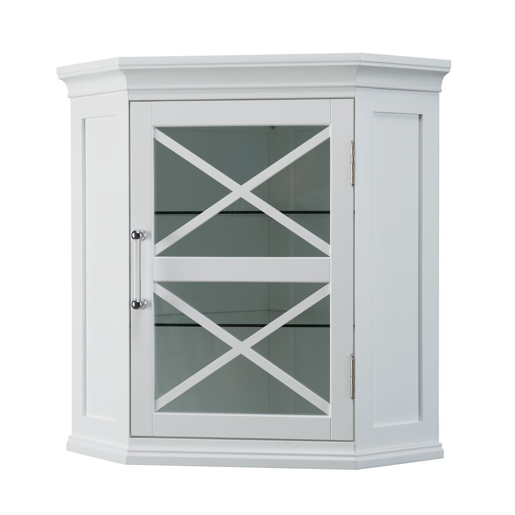 Bathroom Cabinet / Bathroom Storage Cabinet Grayson White Corner Wall Cabinet in Modern Style. Assembly Required