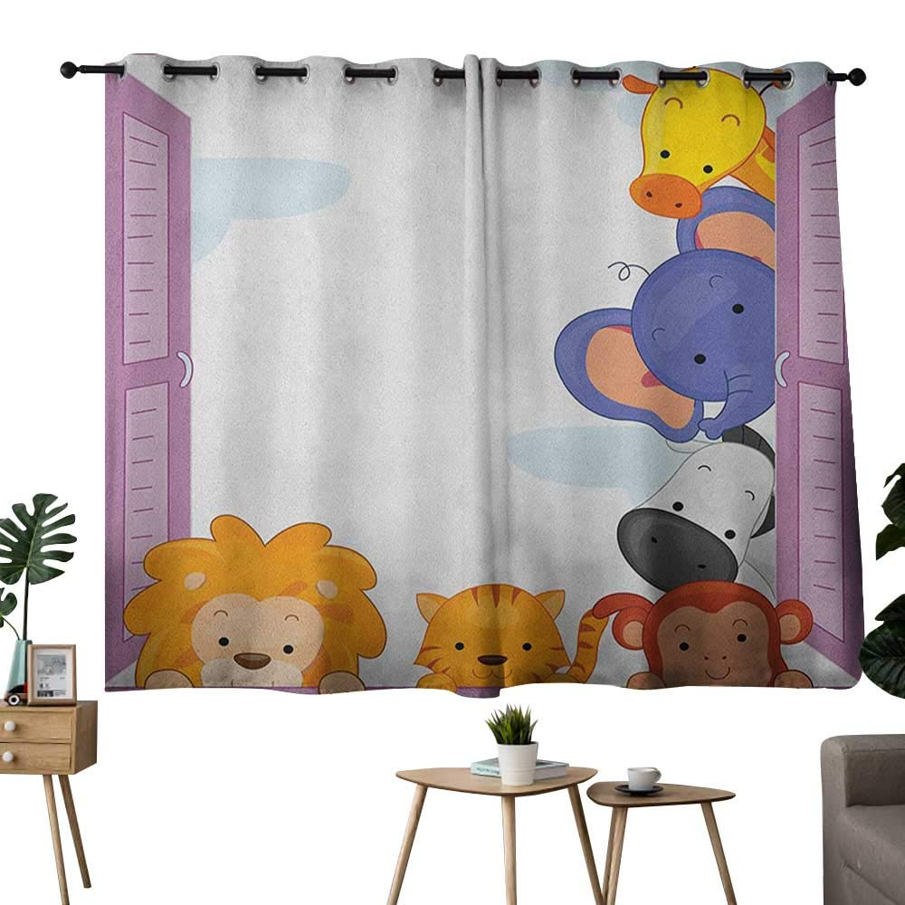 color08 42 x54 (W106cmxL137cm) NUOMANAN Thermal Insulated Blackout Curtain Zoo,Funny Cute Cartoon Style Animals Set colorful Dots Doodle Jungle Life Kids Room Design, Multicolor,Insulating Room Darkening Blackout Drapes 42 x45