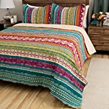 2 Piece Multi Color Bohemian Stripe Quilt Twin Set, All Over Horizontal Striped Bedding, Striped Southwest Native American Aztec Themed Pattern, Plum Purple Orange Yellow Teal Blue Pink White