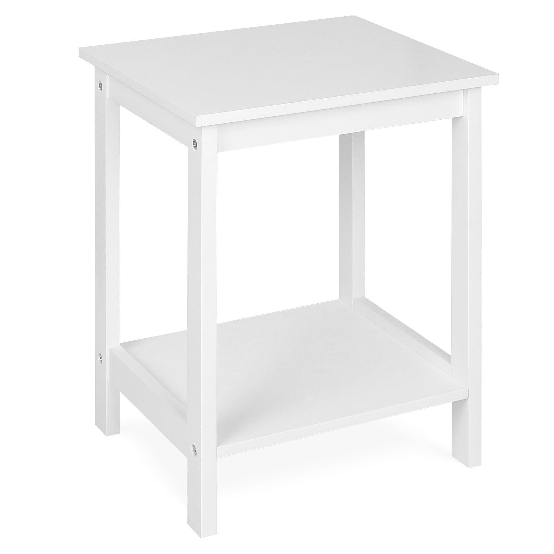 HOMFA Tavolino Quadrato Moderno per Soggiorno, Tavolino Basso Bianco in Legno da Divano Caffè Tè Salotto 38 × 32 × 48cm HF