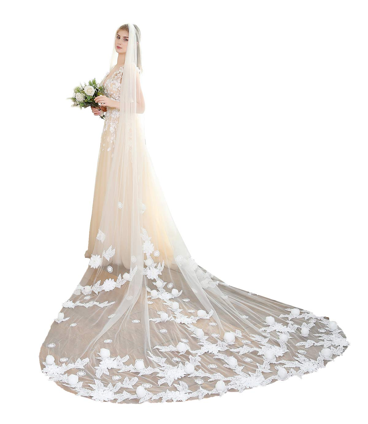Fenghuavip Ivory Tulle 1T Brides Veils 5M Cathedral Long 3D Flower Veil with Comb (5 meters, Ivory)