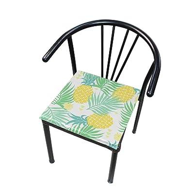 Bardic FICOO Home Patio Chair Cushion Pineapple Tropical Leaf Square Cushion Non-Slip Memory Foam Outdoor Seat Cushion, 16x16 Inch: Home & Kitchen