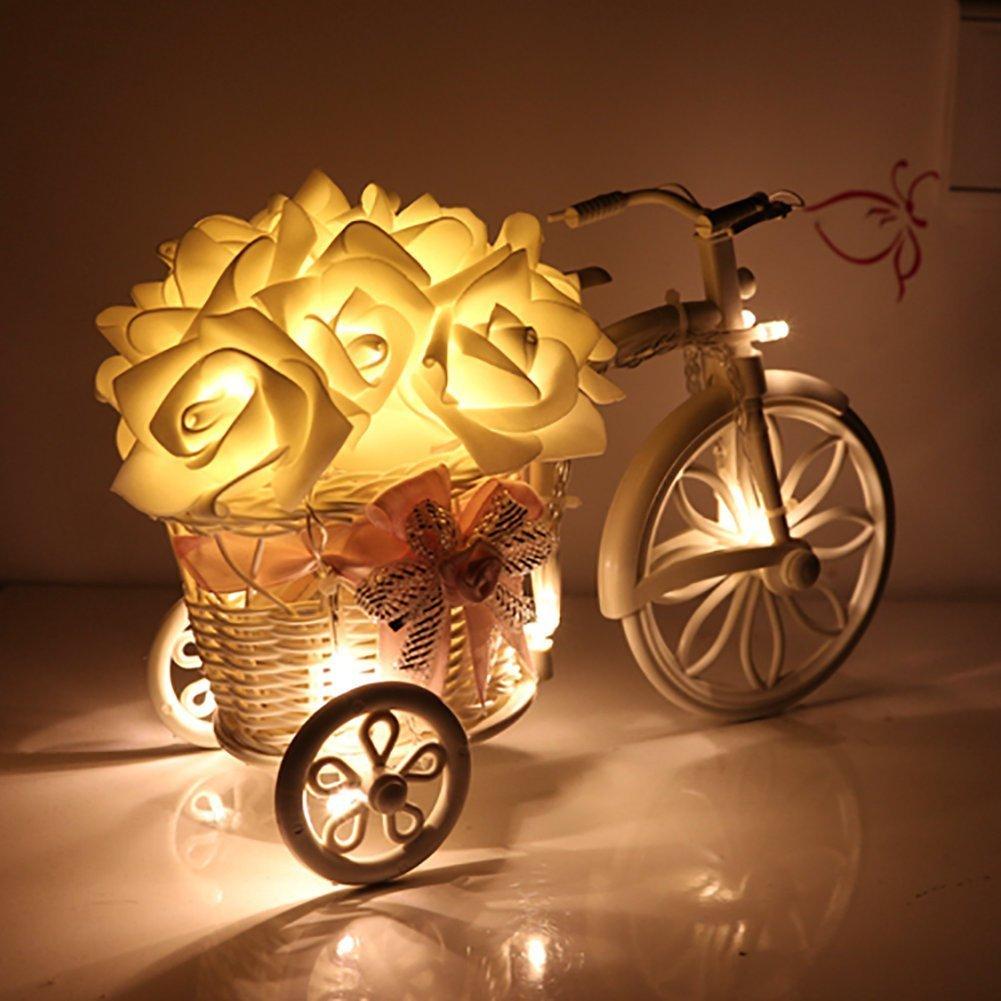String Lights, Mulcolor 20 LED Battery Operated Rose Flower String ...