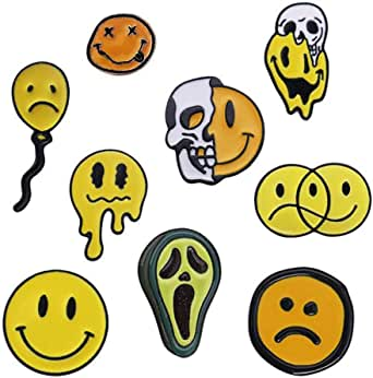 Shinmond 9 Styles I Am Not Happy Enamel Pins Summer Hot to Deformation Melted Avocado Skull Face Brooches Denim Shirt Lapel Pins