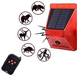 Luz estroboscópica solar con detector de movimiento con alarma solar con mando a distancia, 129 dB, luz de sirena de segurida