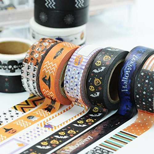 10 Rolls Halloween Washi Masking Tape Set, Spider Web Pumpkin Skeleton Skull Bat Cat Decorative Masking Tape Collection, Tape for DIY Crafts and Gift Wrapping Party Supplies?Random Color) (Spider Web Halloween Craft)