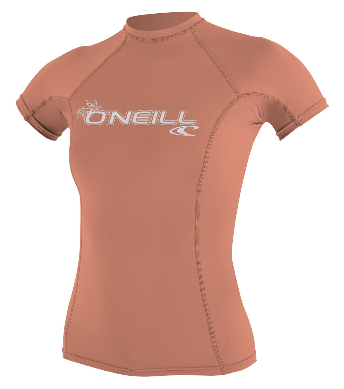 O'Neill Wetsuits O'Neill Women's Basic Skins UPF 50+ Short Sleeve Rash Guard, Light Grapefruit, Medium by O'Neill Wetsuits