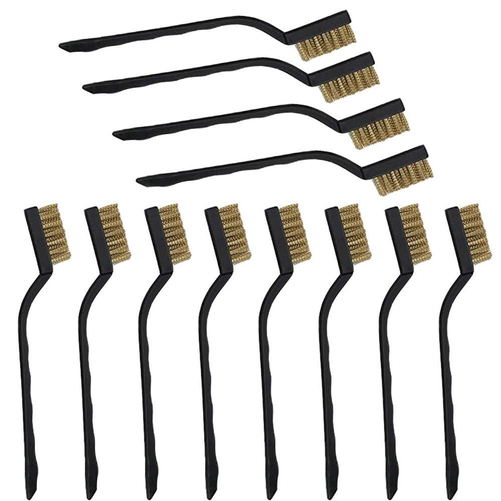 Gobesty Cepillo de lat/ón 12 PCS Mangos de pl/ástico Cepillo de alambre Mini cepillo de metal para limpiar escorias y /óxido de soldadura