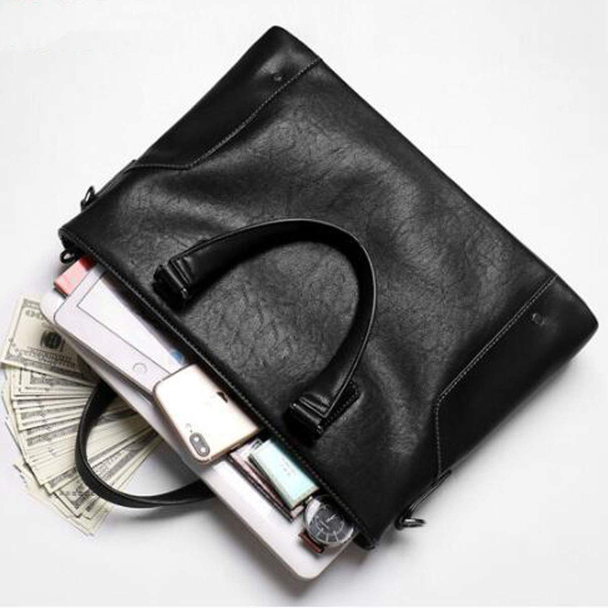 Hongyuantongxun Briefcase Color : Black Mens Business Casual Large-Capacity Handbag Black Size: 387.527cm Rest Assured