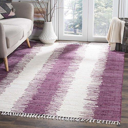 - Safavieh Montauk Collection MTK751D Handmade Flatweave Purple Cotton Area Rug (5' x 8')