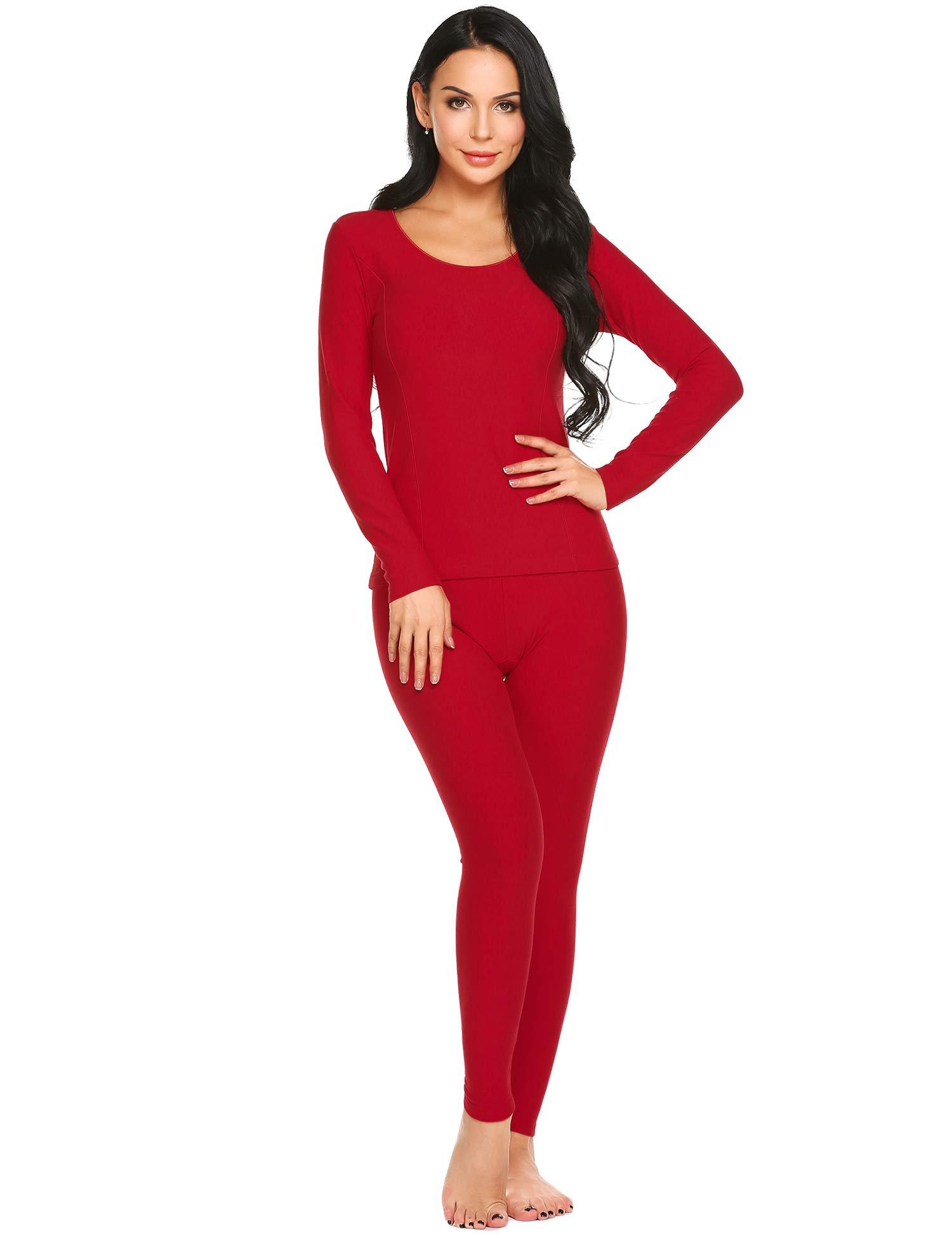 Ekouaer Women's Long Thermal Underwear Fleece Lined