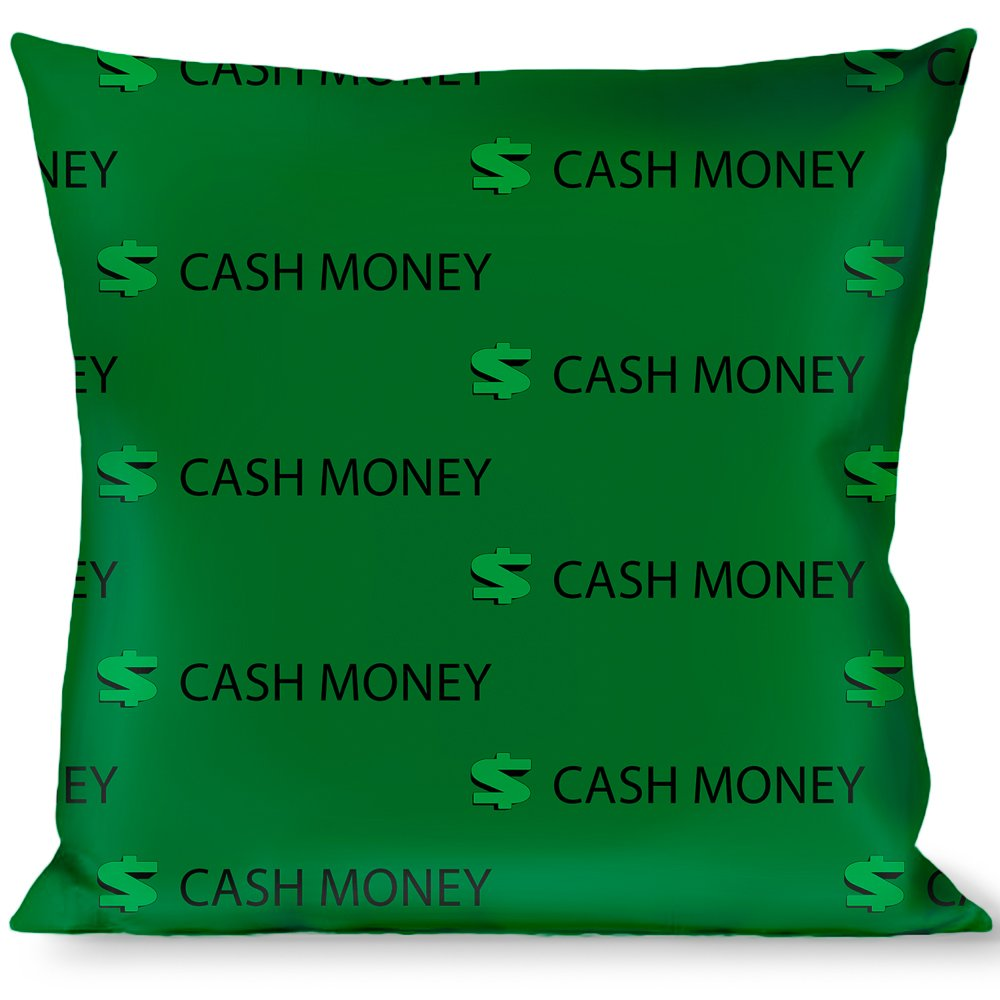 Buckle Down Cash Money $ Green//Black Throw Pillow Multicolor