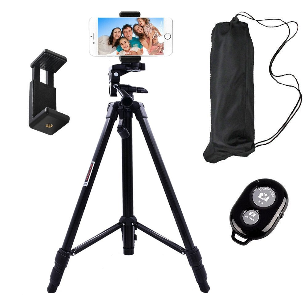 Hi-tec Aluminum Portable and Adjustable Camera Cell Phone Tripod for iphone Camera Tripod with Phone Tripod Adapter,Bluetooth Remote Control Shutter for Selfie(55 Inch)