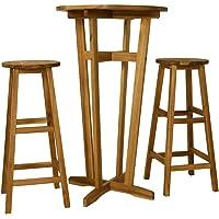 vidaXL 3 Pieces Solid Acacia Wood Bar Set 2 Stools 1 Table Weather Resistant High Dining Bistro Set Indoor Kitchen…
