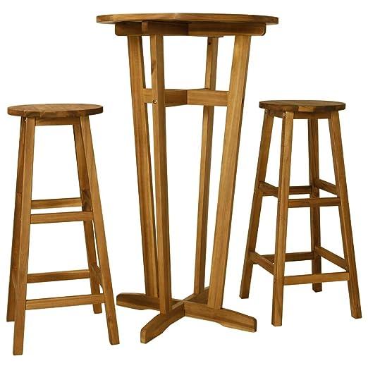 ghuanton Set de Mesa y sillas de Bar 3 Piezas Madera Maciza de ...