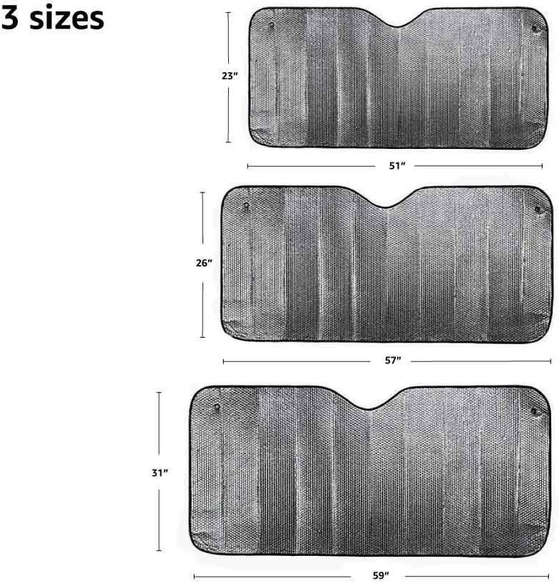 2 mm di spessore protezione dai raggi UV Parasole per parabrezza anteriore 130 cm x 58,4 cm riflettente Basics pieghevole