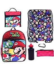Super Mario 6 Piece Backpack Set - Backpack, Lunch Bag, Cinch Bag, Pencil Bag, Water Bottle and Carabiner