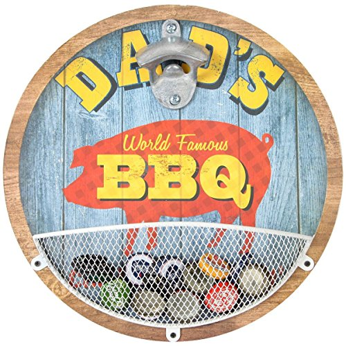 Lily's Home Vintage-Style Wall Mount Bottle Opener with Cap Catcher, Features Dad's World Famous BBQ Design, Ideal Father's Day and Christmas Gift for Him (11 1/4″ Diameter)