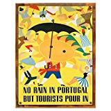 Wood-Framed Portugal Metal Sign: Travel Decor Wall Accent, Vintage Advertising for kitchen on reclaimed, rustic wood