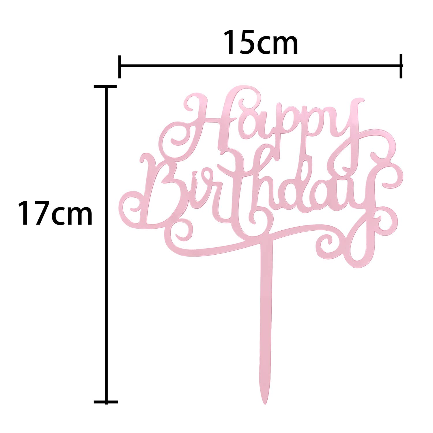 Rose Gold Happy Birthday Cake Toppers Pack Acrylic Glitter Star Fans Confetti Balloon Cupcake Party Decor Decorations (J)