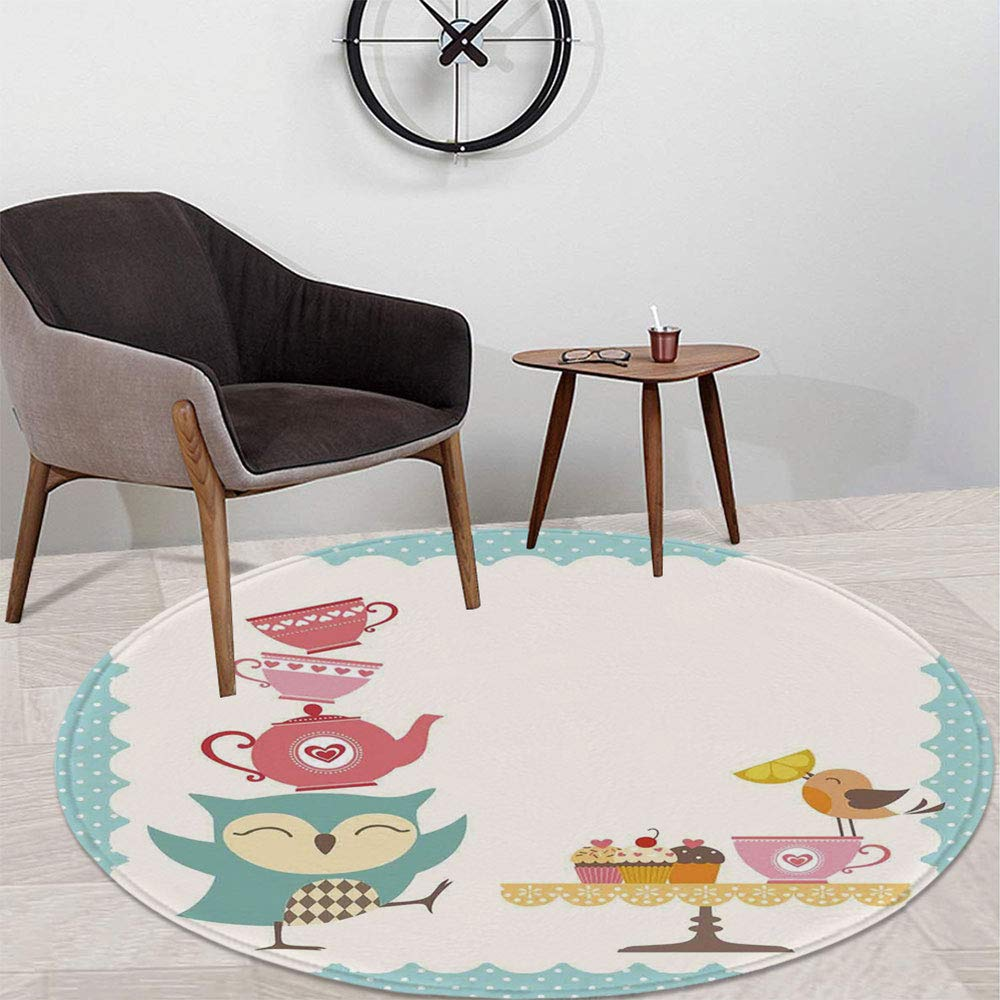 Kitchen Decor Short Fur Round Mat,Owl at Tea Party Bird with Lemon Cupcakes and Teacups Vintage Design Border Art for Home Meeting Room,47.24'' W x 47.24'' H by TecBillion