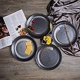 Stoneware Snowflake Collection 9-Inch Bread/Salad/Dessert Plates, Set of 4, Black