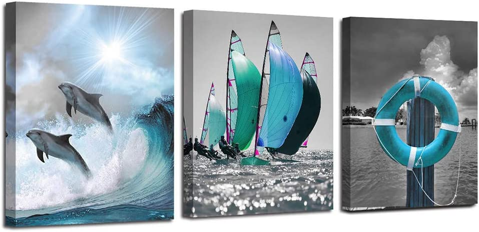 "Ardemy Canvas Wall Art Ocean Teal Blue Dolphin Painting Sailboat Pictures, Modern Seascape 12""x16""x3 Panels Landscape Artwork for Home and Office Wall Decor"