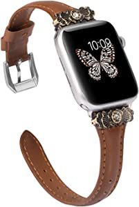 Wearlizer Brown Thin Leather Compatible with Apple Watch Bands 42mm 44mm for iWatch SE Strap Womens Mens Leisure Wristband Dressy, Metal Embellishment Replacement (Silver Clasp) Series 6 5 4 3 2 1