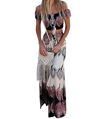 d0f9618d2 GUOCU Femme Robe Longue Ete Boheme Chic Robe de Plage Soirée Casual Imprimé  Fleurie Mode FendueCol Bateau Épaules Dénudées