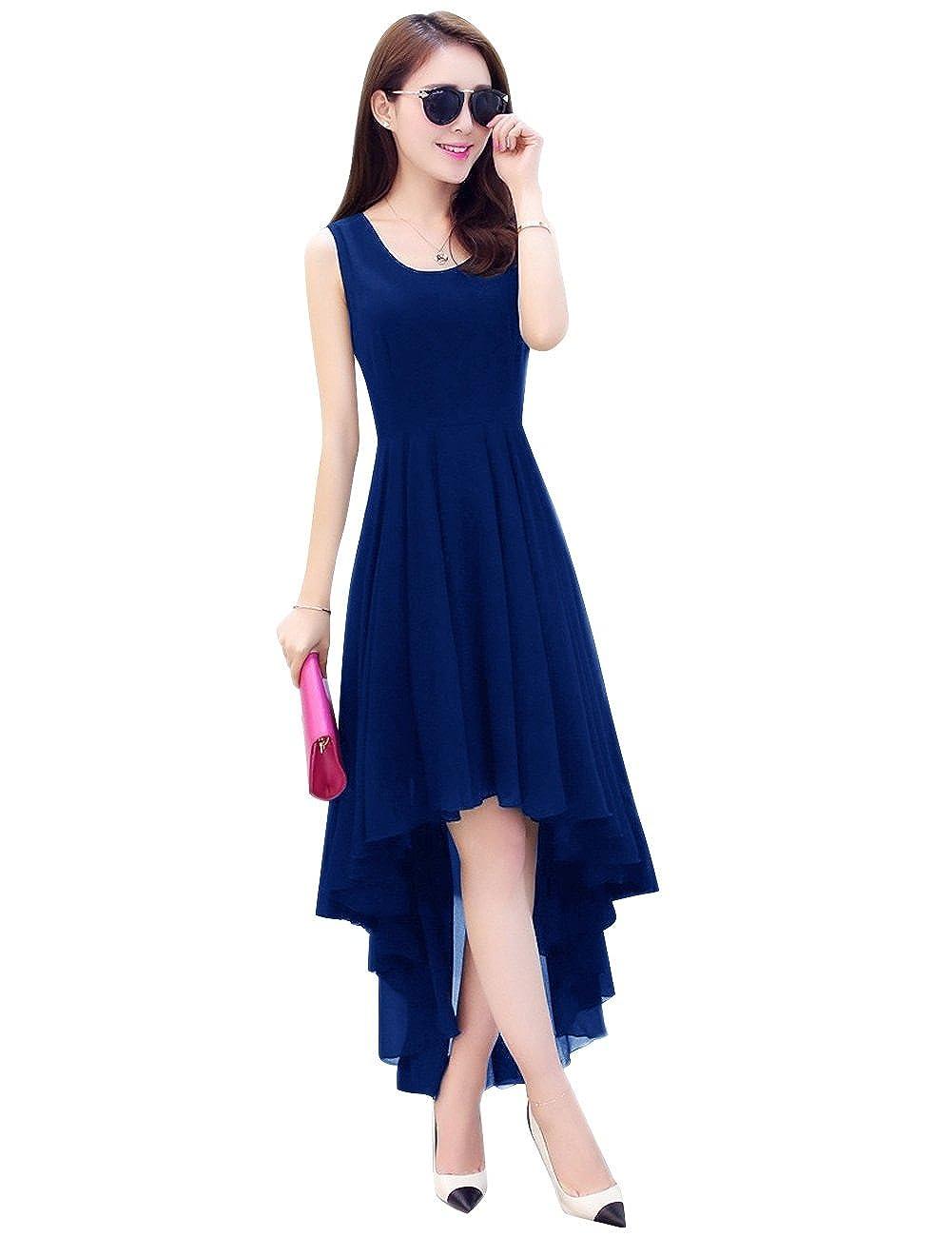 Royal bluee Dasior Women's ALine Asymmetric High Low Summer Beach Holiday Party Dress