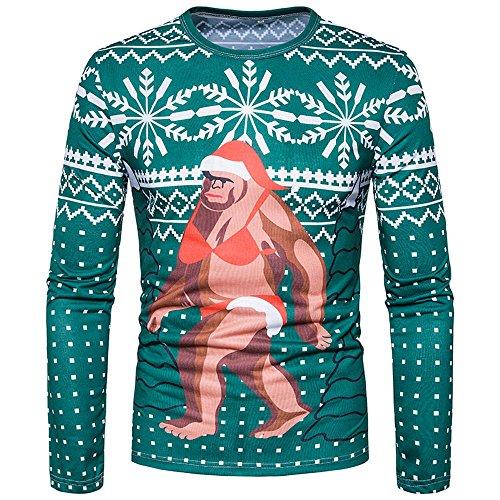 Men Aurumn Winter Snow Cool Santa Printed Blouse, Xander Long Sleeve Slim Geometry Pattern Chrismas Blouse (L) (Naked Steampunk Women)