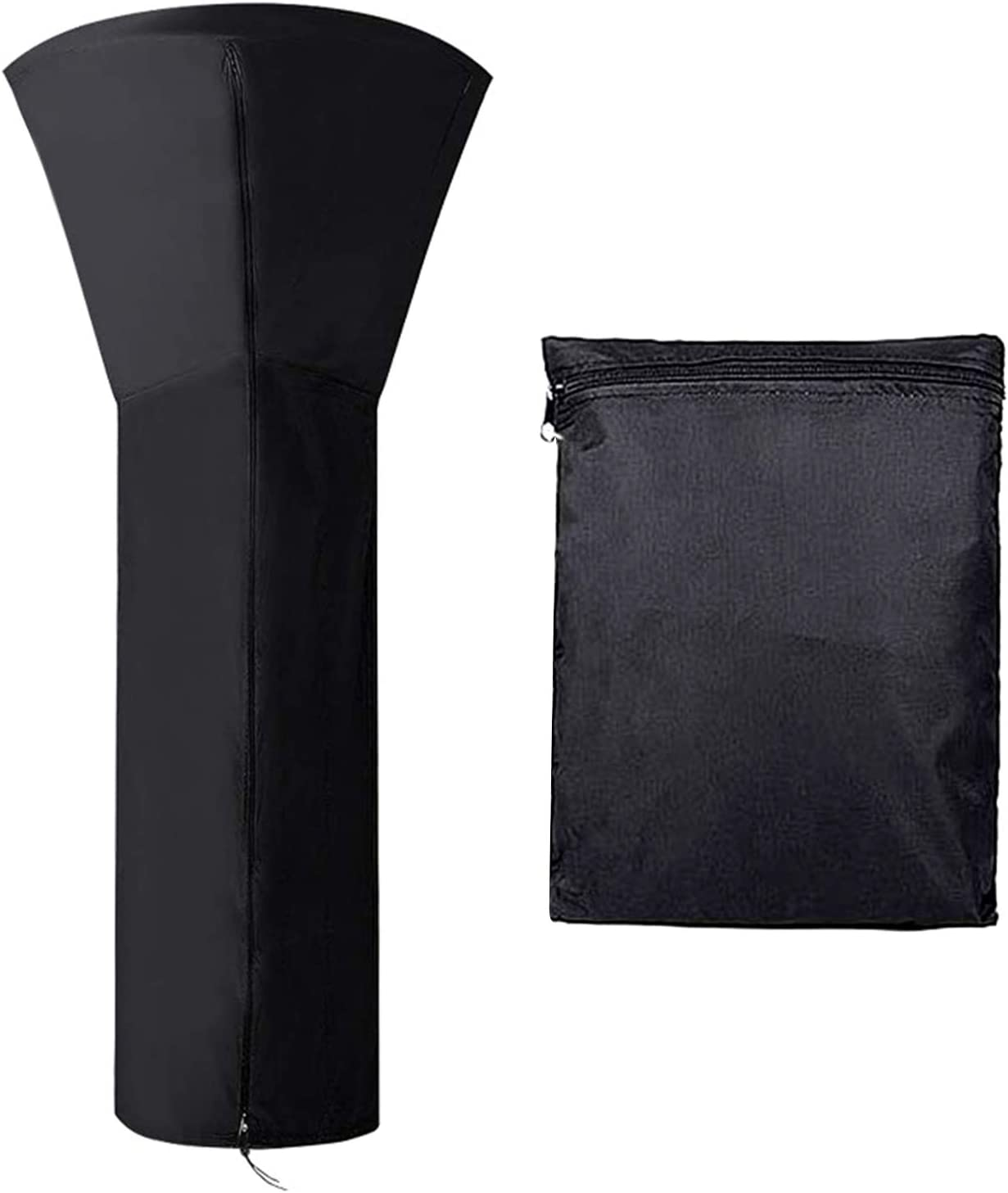 Delokey Patio Heater Covers with Zipper Waterproof Garden Heavy Duty Stand Up Patio Heater Cover with Storage Bag in Black (94.4x36.2x23.2 in)
