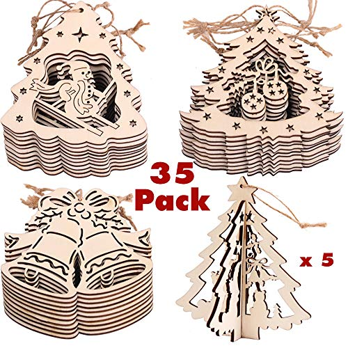 PartyBus Christmas Wood Cutouts, Unfinished Tree-Shaped Wooden Ornaments for Holiday Card Decoration, Xmas Gift Tags for Kids Art & Craft DIY, Burlap String Pre-Tied Slices Rustic Coaster Décor