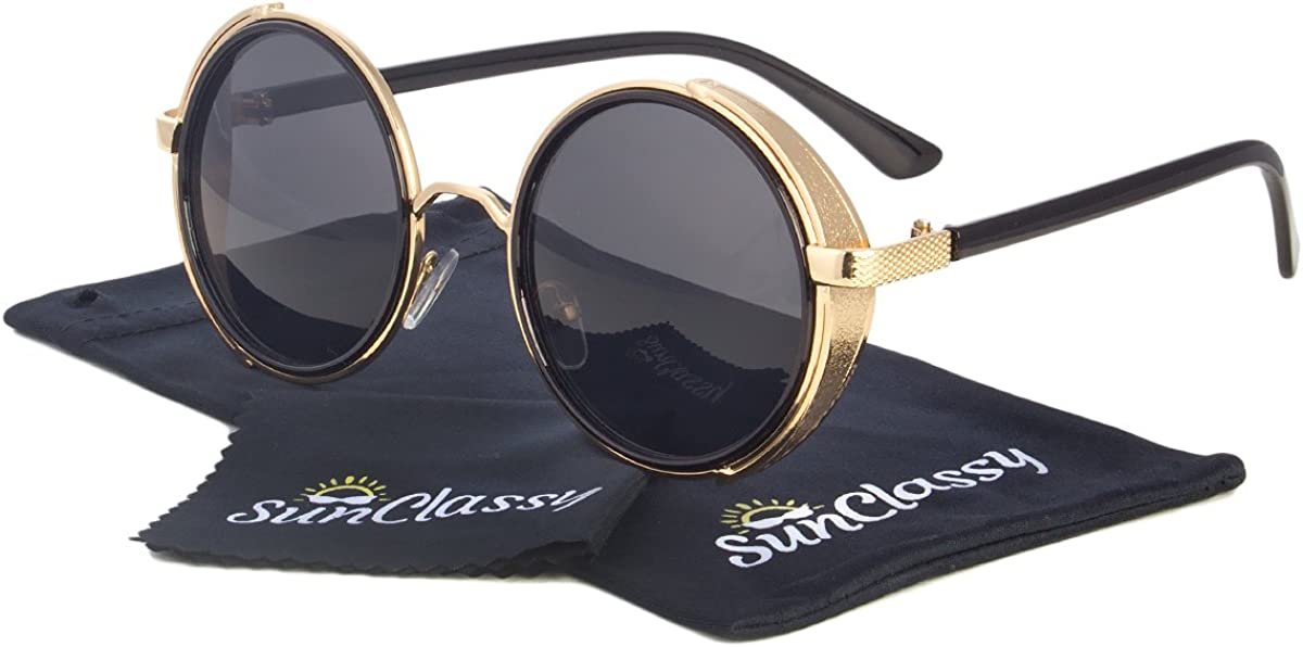 Black Vintage Retro Steampunk Gothic Side Shield Hipster Round Sunglasses Gold B