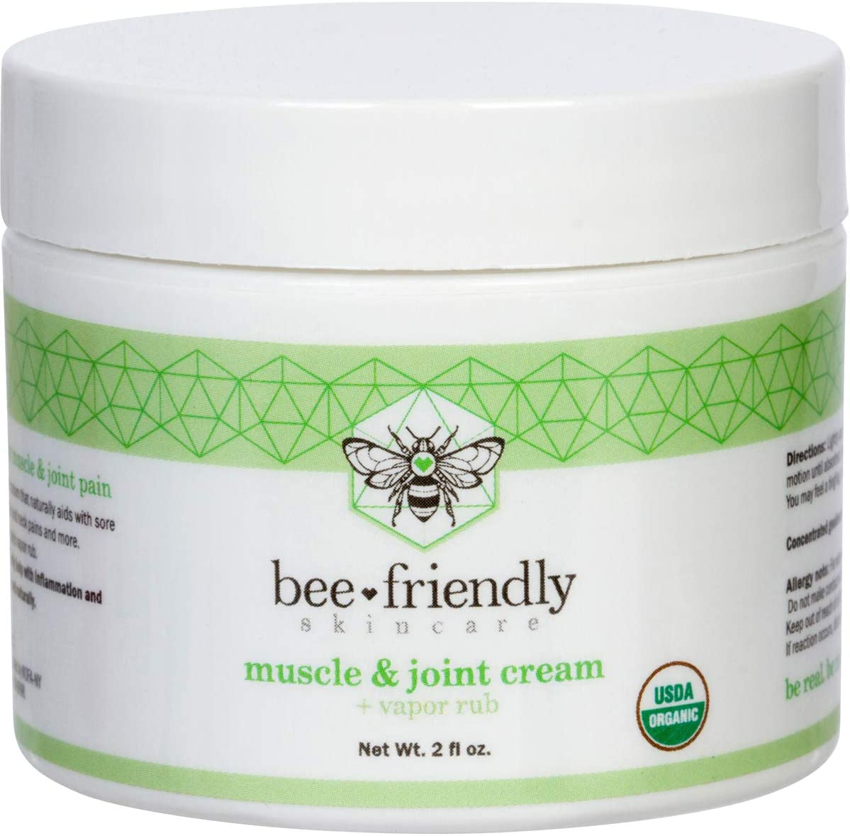 Muscle & Joint Cream, USDA Certified Organic Anti Inflammatory Topical Analgesic & Vapor Rub for Natural Pain Relief with Back, Neck, Knee, Foot, Arthritis, Soreness & Cramps by BeeFriendly 2 oz