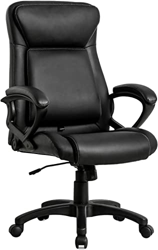 KOVALENTHOR Home Office Chair Ergonomic Desk Chair Computer Chair, Task Rolling Swivel Modern High Back PU Leather Executive Chair with Adjustable Lumbar Support Arms Headrest for Women