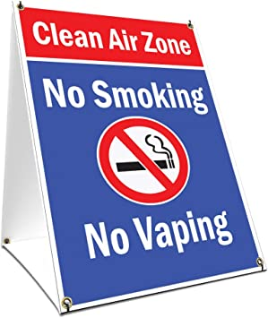 18 X 24 Print Size A-Frame Sidewalk Clean Air Zone No Smoking No Vaping Sign with Graphics On Each Side