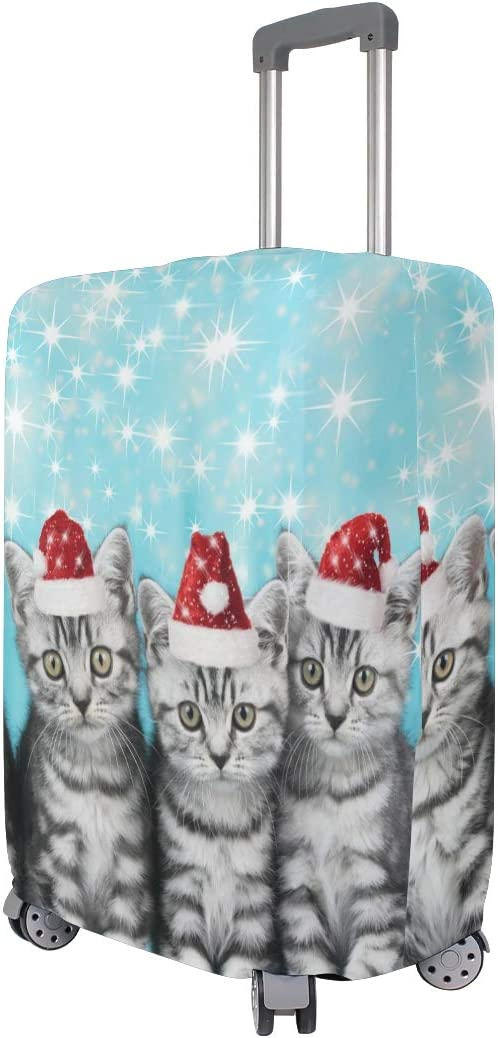 FOLPPLY Cat With Chritmas Hat Luggage Cover Baggage Suitcase Travel Protector Fit for 18-32 Inch