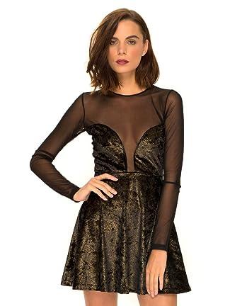 7f0cf5fb62 Motelrocks - Luxy Skater Dress in Velvet Gold Shimmer by Motel   Amazon.co.uk  Clothing