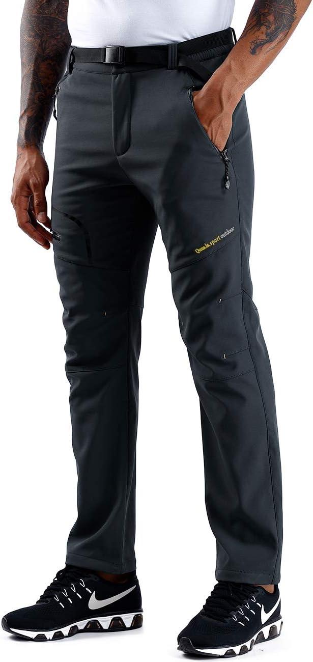 ZOEREA Hombre Pantalones de Trekking Impermeable Invierno Polar Forrado Hombres Pantalones Escalada Senderismo Monta/ña Aire Libre