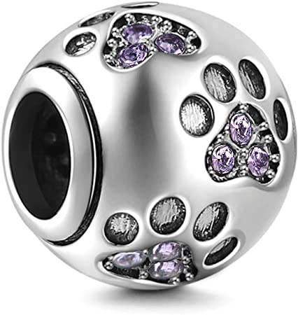 Sterling Silver 925 Dog Paw Charm Bead For Branded Charms Bracelet