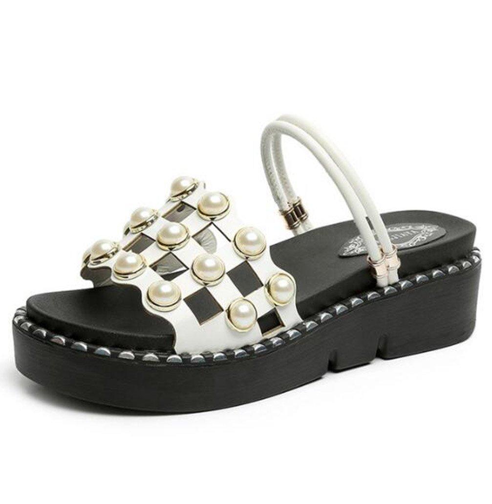 TWGDH Sandalen Flache Schuhe Dicke Untere Keile Fersenplattform Frauen Peep-Toe Rouml;mische Alias ??Casual Strand Flip-Flops Schuhe  38|White