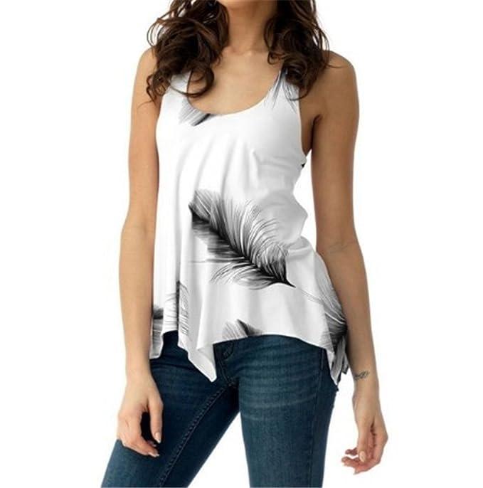 Hibote Mujer Camiseta Sin Mangas Camisa Sexy Grandes O Cuello Tops Estampado Mariposas Blusa Camisas Slim